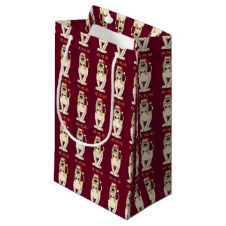 Spinone Italiano brightly Santa Small Gift Bag