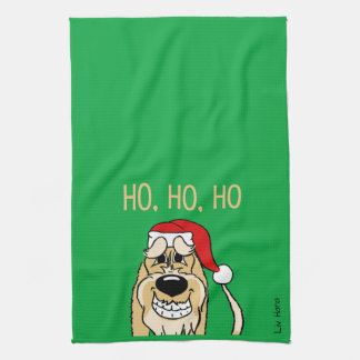Spinone Italiano brightly Santa Tea Towel