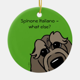 Spinone Italiano - does else what? Round Ceramic Decoration
