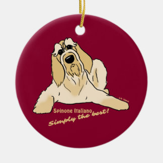 Spinone Italiano light Simply the best! Round Ceramic Decoration