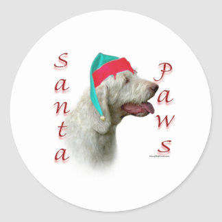 Spinone Italiano Santa Paws Round Sticker