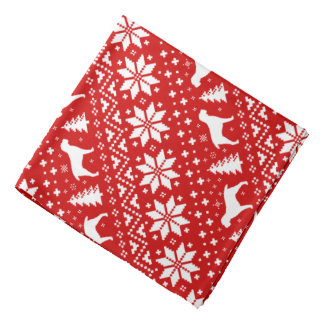 Spinone Italiano Silhouettes Christmas Pattern Red Bandana