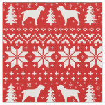 Spinone Italiano Silhouettes Christmas Pattern Red Fabric