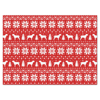 Spinone Italiano Silhouettes Christmas Pattern Red Tissue Paper