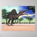 Spinosaurus dinosaur in the desert - 3D render Poster