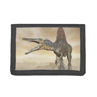 Spinosaurus dinosaur in the desert - 3D render Tri-fold Wallet