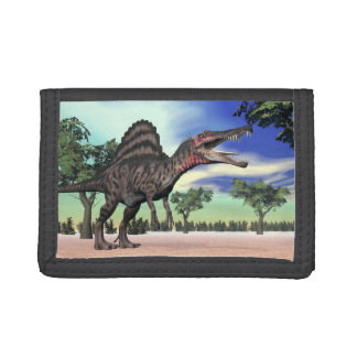 Spinosaurus dinosaur in the desert - 3D render Trifold Wallet