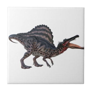 Spinosaurus Squatting and Looking Ferocious Small Square Tile
