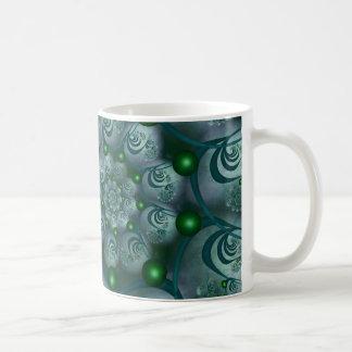 Spiral and Spheres Blue Fractal Basic White Mug