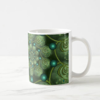 Spiral and Spheres Green Fractal Basic White Mug