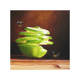 Spiral Apple with Bees Original Art in Oils Gallery Wrapped Canvas