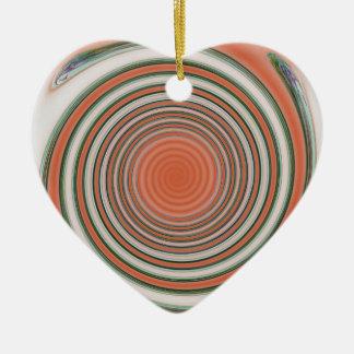 Spiral bound ceramic heart decoration