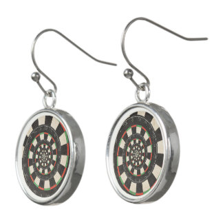 Spiral Dart Board Droste Droste Drop Earrings