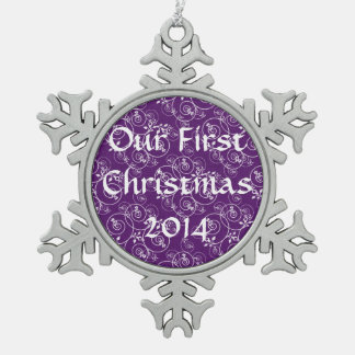 Spiral Design on Purple Fabric Snowflake Pewter Christmas Ornament