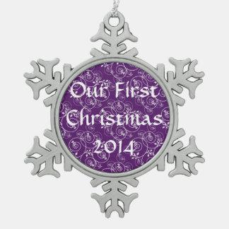 Spiral Design on Purple Fabric Pewter Snowflake Decoration