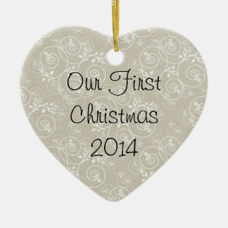 Spiral Design with Tan Fabric Background Double-Sided Heart Ceramic Christmas Ornament