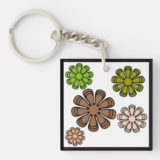 Spiral Flower Camouflage Art Double-Sided Square Acrylic Key Ring