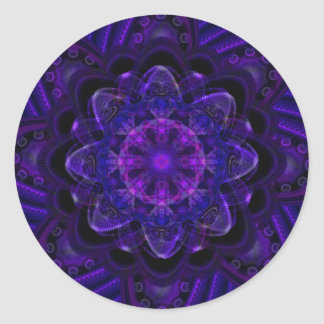 Spiral Flower Fractal Dark Purple UV Pixel Classic Round Sticker