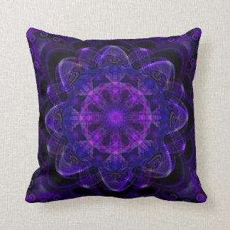 Spiral Flower Fractal Dark Purple UV Pixel Cushion