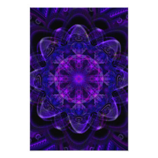 Spiral Flower Fractal Dark Purple UV Pixel Photo