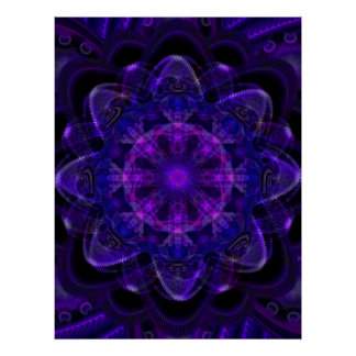 Spiral Flower Fractal Dark Purple UV Pixel Poster