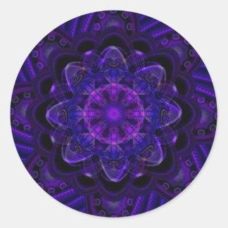 Spiral Flower Fractal Dark Purple UV Pixel Round Sticker