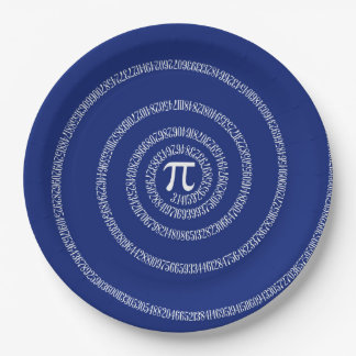 Spiral for Pi Numbers on Navy Blue Decor 9 Inch Paper Plate