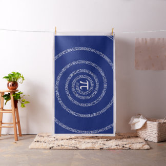 Spiral for Pi Numbers on Navy Blue Decor Fabric