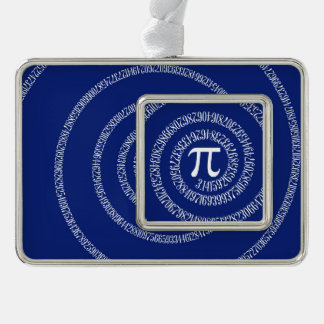 Spiral for Pi Numbers on Navy Blue Decor Silver Plated Framed Ornament