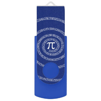 Spiral for Pi Numbers on Navy Blue Decor USB Flash Drive