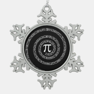 Spiral for Pi on Black Style Pewter Snowflake Decoration