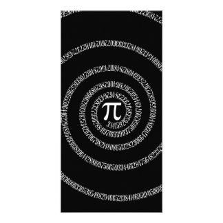 Spiral for Pi on Solid Black Photo Cards