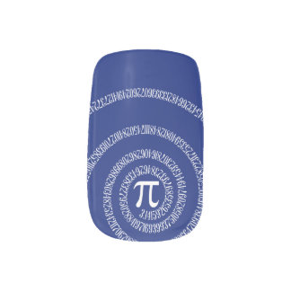 Spiral for Pi Typography on Blue Minx Nail Art