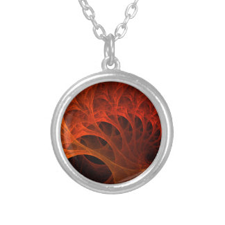 Spiral Fractal Design Silver Plated Necklace