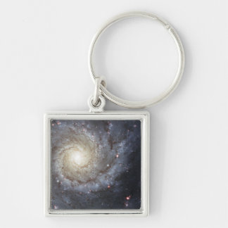 Spiral galaxy M74 Silver-Colored Square Key Ring