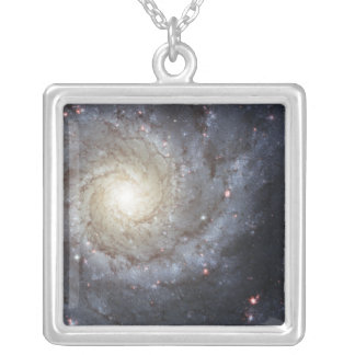 Spiral galaxy M74 Silver Plated Necklace