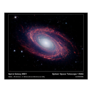 Spiral Galaxy M81 – Spitzer Space Telescope Poster