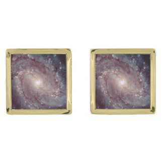 Spiral Galaxy Messier 83 Gold Finish Cuff Links