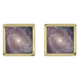 Spiral Galaxy Messier 83 Gold Finish Cuff Links