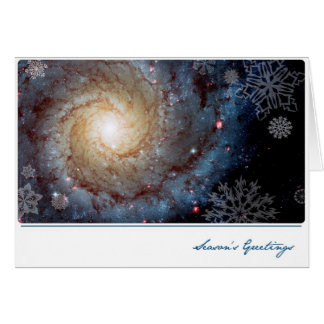Spiral Galaxy with Snowflakes – Hubble Telescope Greeting Card