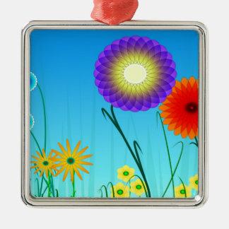Spiral Garden Silver-Colored Square Decoration