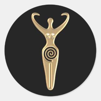 Spiral Goddess Classic Round Sticker