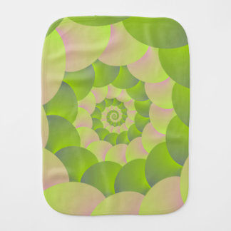 Spiral in Pink and Greens Burp Cloth