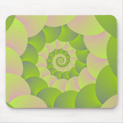 Spiral in Pink and Greens Mouse Pads