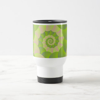 Spiral in Pink and Greens Stainless Steel Travel Mug