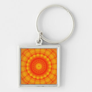 Spiral Kaleidoscope Silver-Colored Square Key Ring