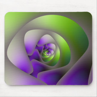 Spiral Labyrinth in Green and Purple Mousepad