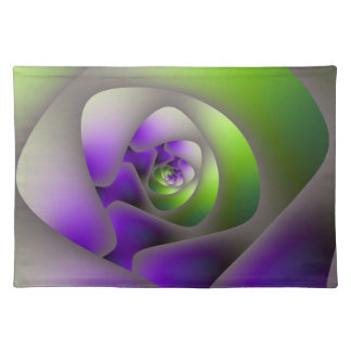 Spiral Labyrinth in Green and Purple Placemats