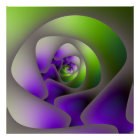 Spiral Labyrinth in Green and Purple Poster