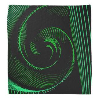 Spiral line art abstraction, the tunnel, green bandana